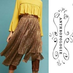NWT Anthropologie Maeve Bronze Skirted Pant